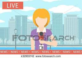 News Reporter Woman Journalist Media Tv And Microphone Television Broadcasting Professional Communication Vector Illustration