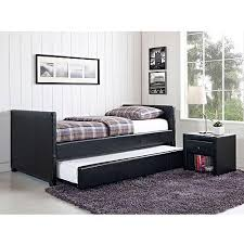 stratus twin daybed and trundle black faux leather walmart com