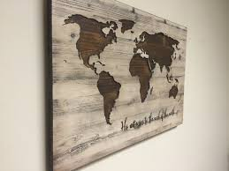 World Map Wall Art Spiritual Vintage Carved Wood His And On Planks