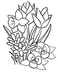 Spring Flowers Coloring Pages Printable Archives Inside