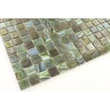 hakatai 5 8 x 5 8 green glass square tile glossy iridescent