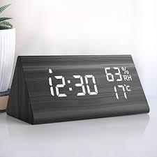 nbpower wecker digitaler led wecker uhr holz digitalwecker tischuhr mit sprachsteuerung snooze funktion datum temperatur und luftfeuchtigkeit für