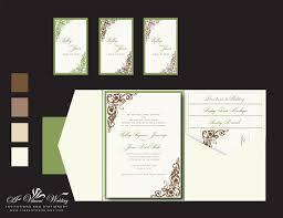 Ivory Green Brown Wedding Invitation