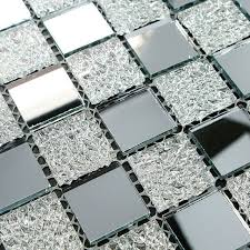 mirrored silver mosaic tile mesh mounted silver mirror glass tile