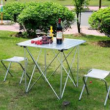 small outdoor aluminum square folding picnic table and chair set ideas