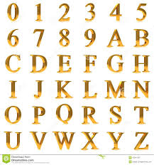 3d Bold Gold Letters And Numbers Stock Illustration Image
