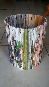 Recycled Magazine Trash Can