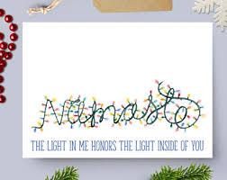 Namaste Lights Yoga Holiday Card Blank Inside Christmas