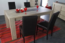 table à manger couleur chêne clair et effet béton moderne mateo