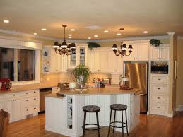 Italian Country Kitchen Decor With White L Corner Wooden Cabinet Glass Door And Ceramic Backsplash Plus Triangle Shaped Island Storage