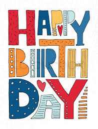 Hand drawn typography poster Happy Birthday lettering