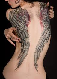 Related Tattoos Large Black Angel Wings Back Tattoo