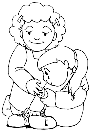 Kindness Mother Taking Care Her Daughter Colouring Page Coloring