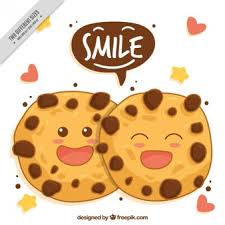 Hand drawn background of smiling cookies
