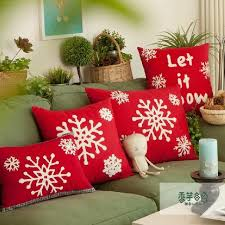 24 X 24 Patio Cushion Covers by Home Snowflakes Design Red Handmade Woolen Embroidery Lumbar Sofa