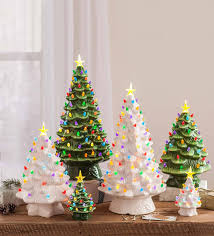 Indoor Outdoor Battery Operated Lighted Ceramic Christmas Tree