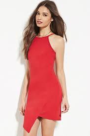 forever 21 asymmetrical hem sheath dress red formal dresses 2016