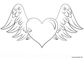 Coloriage Coeur Avec Des Ailes Dessin Regarding Coeur En Coloriage