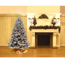 DONNER BLITZEN 65 Alberta Flocked Spruce Christmas Tree With 450 Clear Never Out Lights