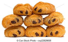Pile Of Chocolate Croissants Isolated On White Stock Images