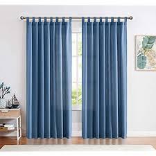 ckny gardinen schlaufenschal voile fenster vorhang mit schlaufen halb transparent schlafzimmer wohnzimmer dunkelblau 245 x 140 cm h x b 2er set