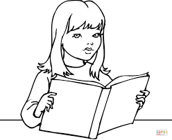 Click The A Girl Reading Book Coloring Pages