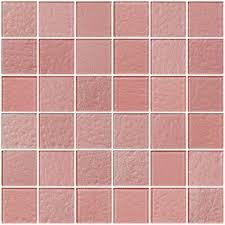 glass tile 2x2 inch pale pink metallic glass tile