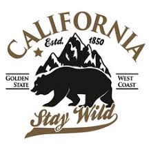 California Typography Print Grizzly Bear T Shirt Vector