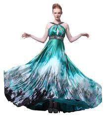 black u0026 teal print pageant gown
