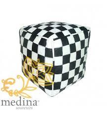 en cuir blanc et noir design carreaux