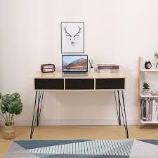 schreibtisch mit 2 schubladen computertisch arbeitstisch pc tisch für wohnzimmer arbeitszimmer 110x51x75cm