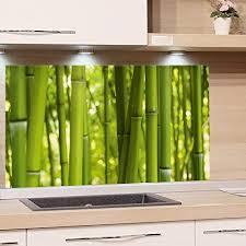grazdesign küchen spritzschutz glas bild motiv bambus grün