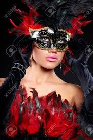 Halloween Half Mask Makeup by Young Woman In Violet Party Half Mask May Be Use For Fashion