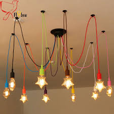 nordic retro spider chandelier l shape light bulb pendant