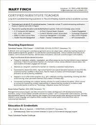 Sample Resume For A Substitute Teacher