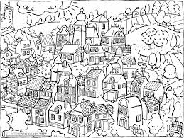A Small Village Coloring Page 01k