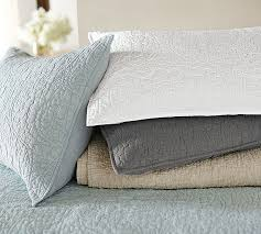 Pottery Barn Floral Stitch Linen Quilt and Sham