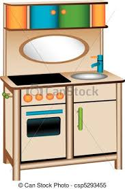 Three Dimensional Illustration Of Toy Kitchen Isolated On