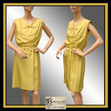 vintage 1960s silk dress mustard yellow size s m from