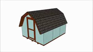 10x12 Gambrel Storage Shed Plans by 10x12 Barn Shed Plans Free Youtube