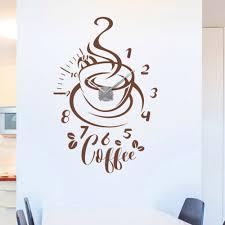 kaffee küche esszimmer modern wandaufkleber wanduhr deko