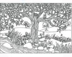Items Similar To Printable Tree River Nature Scene Coloring Page