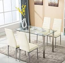 Mecor Glass Dining Table Set 5 Piece Kitchen 4 Leather Chair Metal Legs