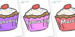 Months of the year cupcake clipart