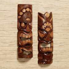 Tiki Warrior Wood Mask Wall Art Set