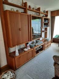 schrankwand wohnzimmer teakholz massiv