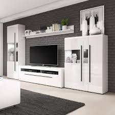 details zu wohnwand weiß hochglanz wohnzimmer set 4 teilig anbauwand tulsa vitrine lowboard