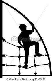 A Boy Climbing On The Jungle Gym