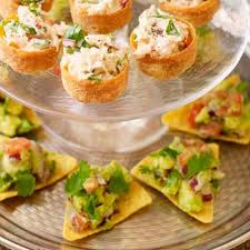 canapé scoop but avocado scoops on tortilla chips food and drink