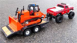 100 Rc Pulling Truck RC ADVENTURES BEAST Monster Pulls Mini Dozer On Trailer